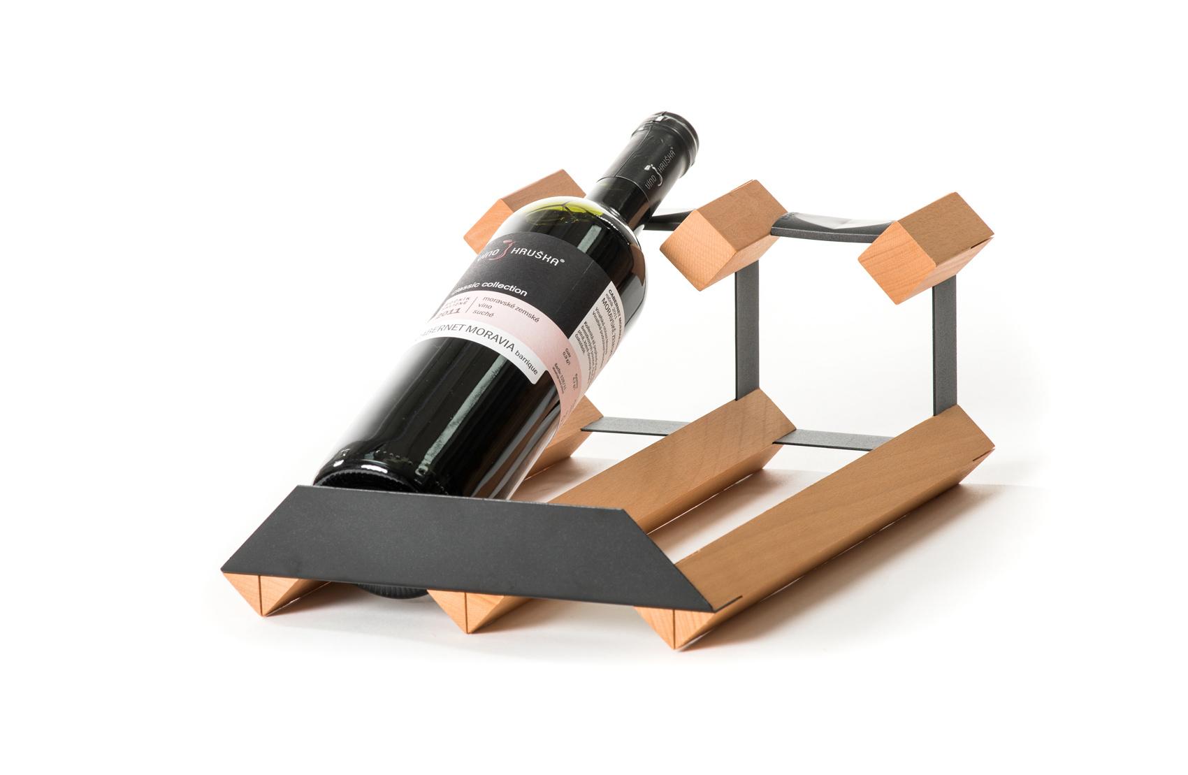 Pultový stojan na víno na 2 lahve
