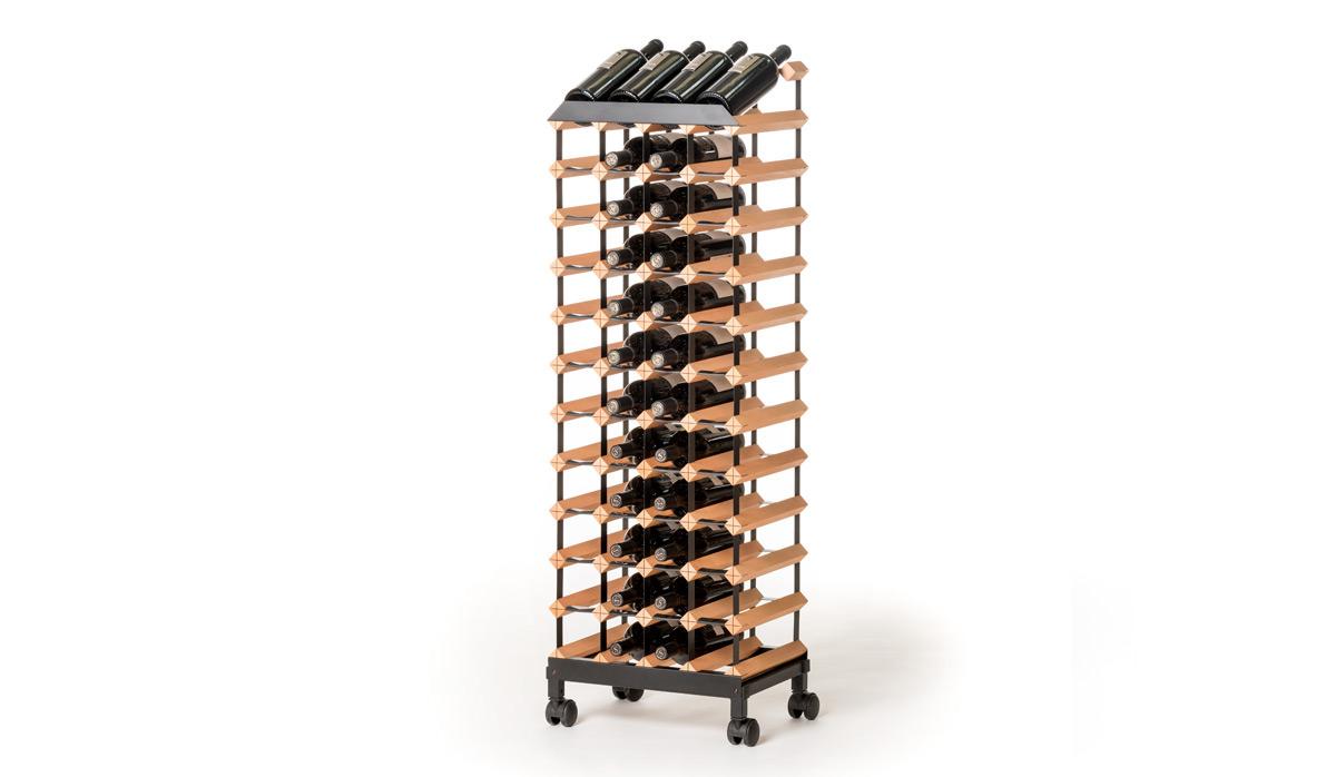 Pojízdný stojan na víno (48 lahví, přímý)