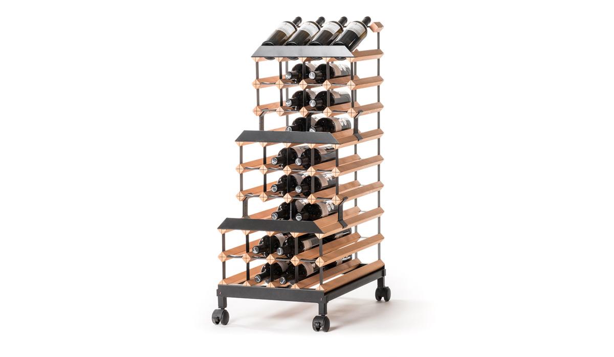 Pojízdný stojan na víno (48 lahví, řadový)
