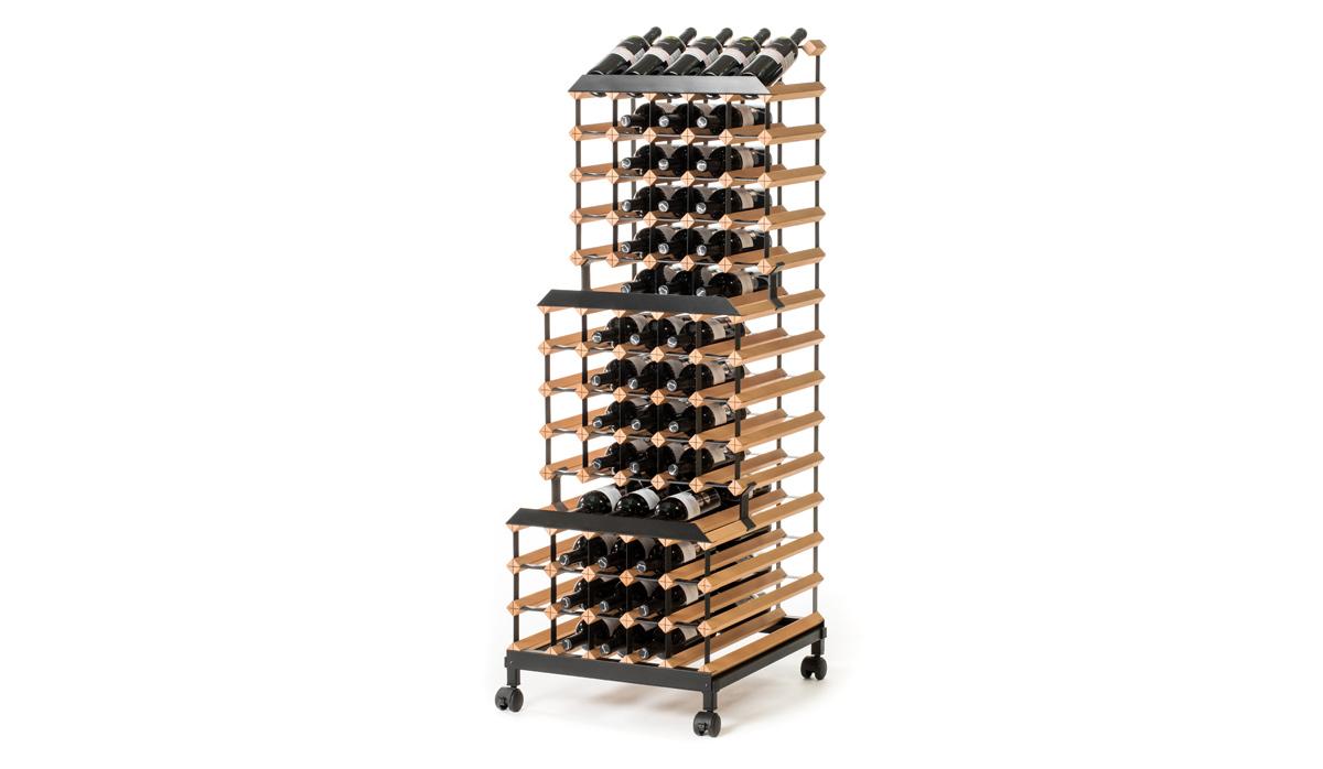 Pojízdný stojan na víno (90 lahví)