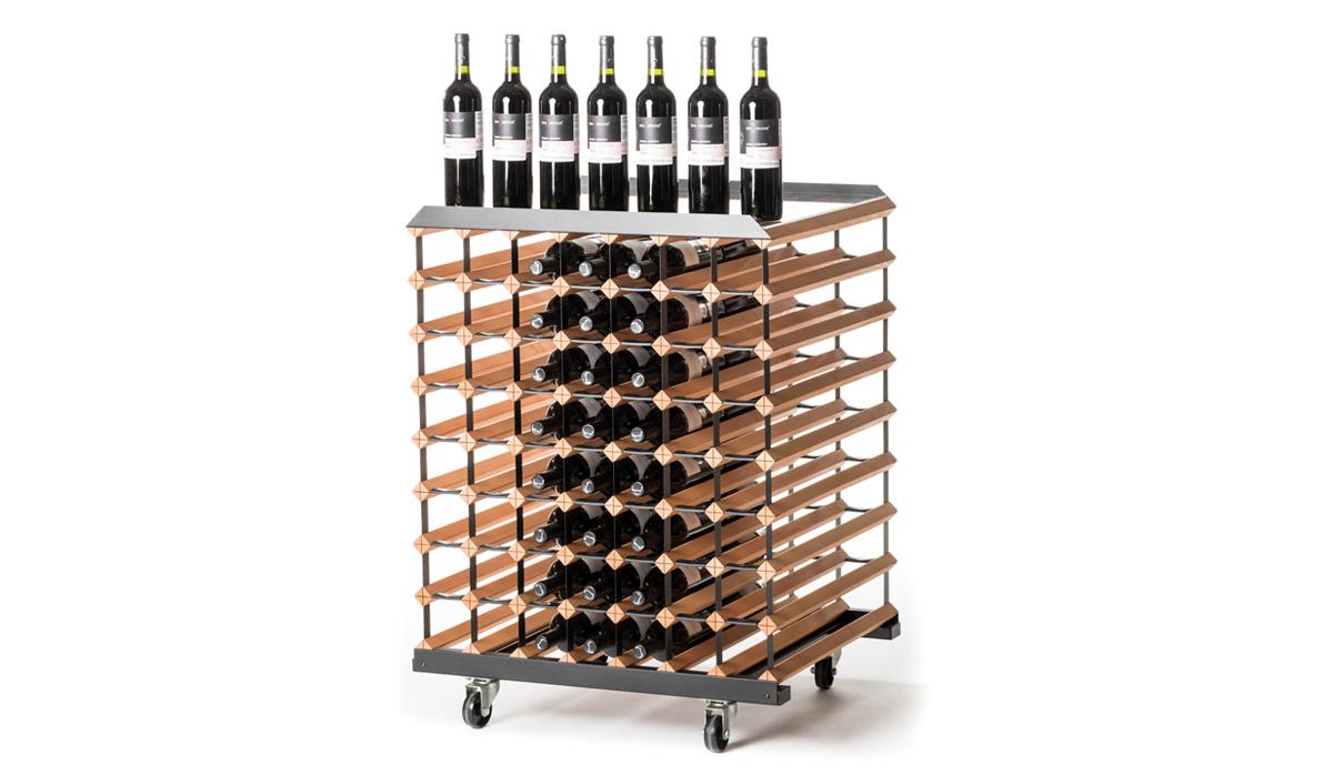 Pojízdný stojan na víno (112 lahví)