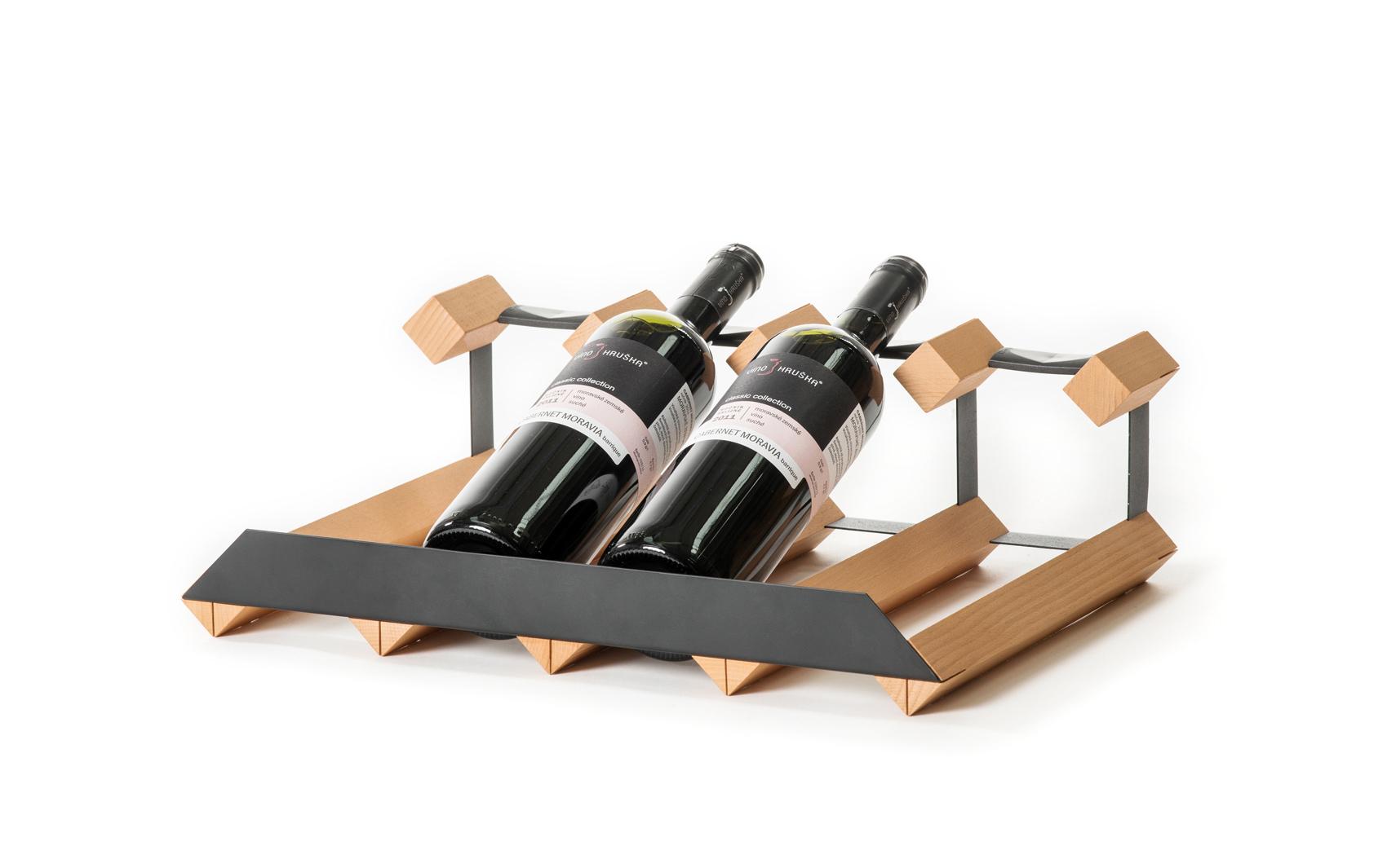 Stojan na víno pultový na 4 lahve