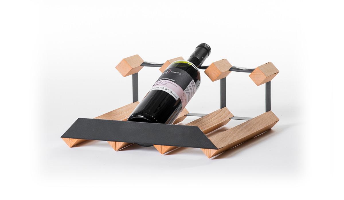 Stojan na víno pultový na 3 lahve