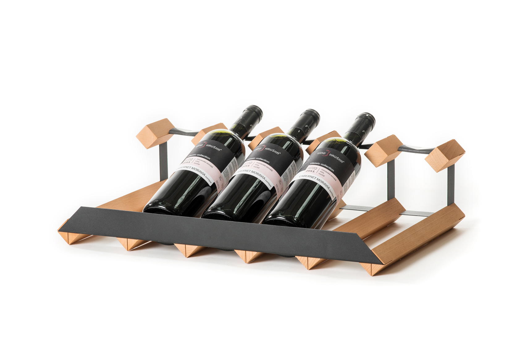Stojan na víno pultový na 5 lahví